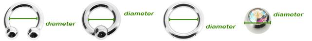 Diameter bij piercing sieraden
