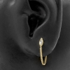 Gold Zirconia Vintage Marquise With Chain - Threadless