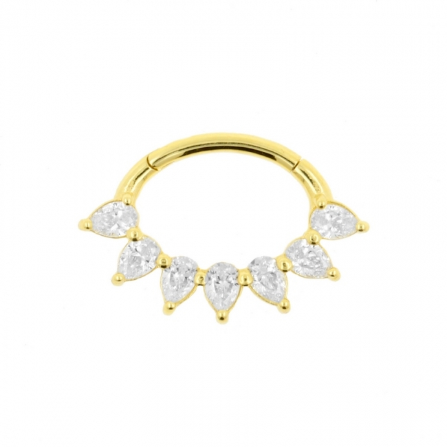 Gouden Daith Clicker - Swarovski Drops
