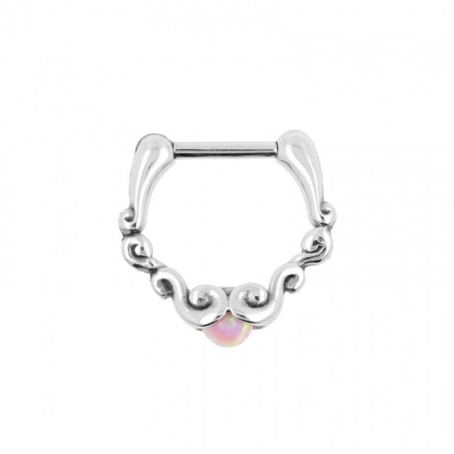 Ornate Septum Clicker with Opal Ball