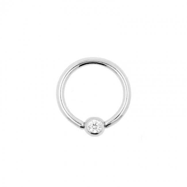 White Gold Jewelled Mini Ball Closure Ring