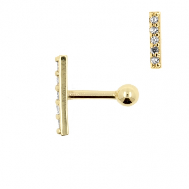 Gold Tragus Barbell With Zirconia