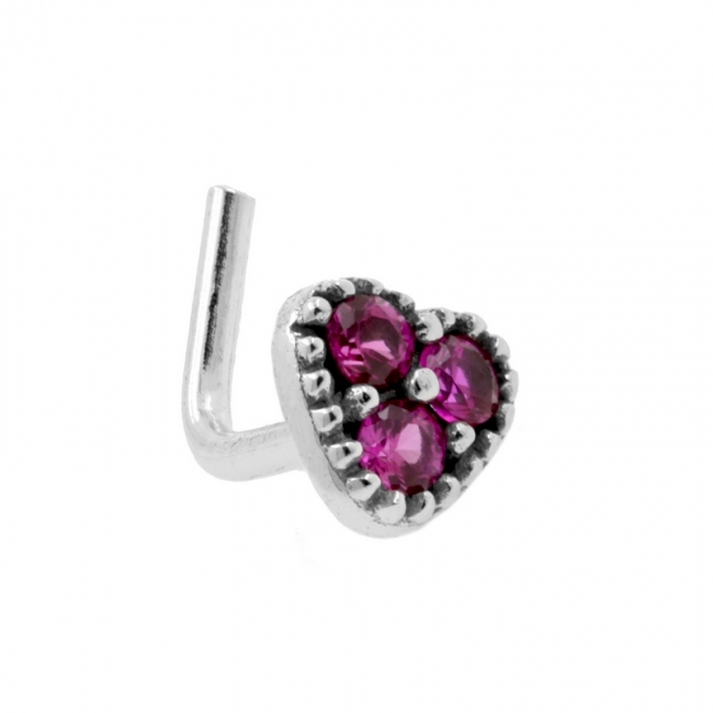 White Gold Nosestud - Zirconia Heart