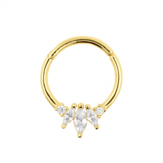 Gold Click Ring with Three Marquise Zirconias
