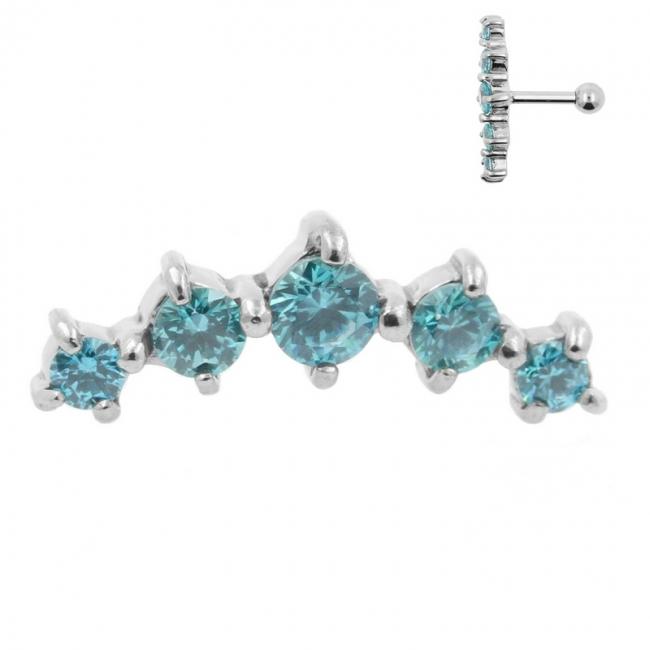 Helix Barbell with Five Swarovski™ Gems