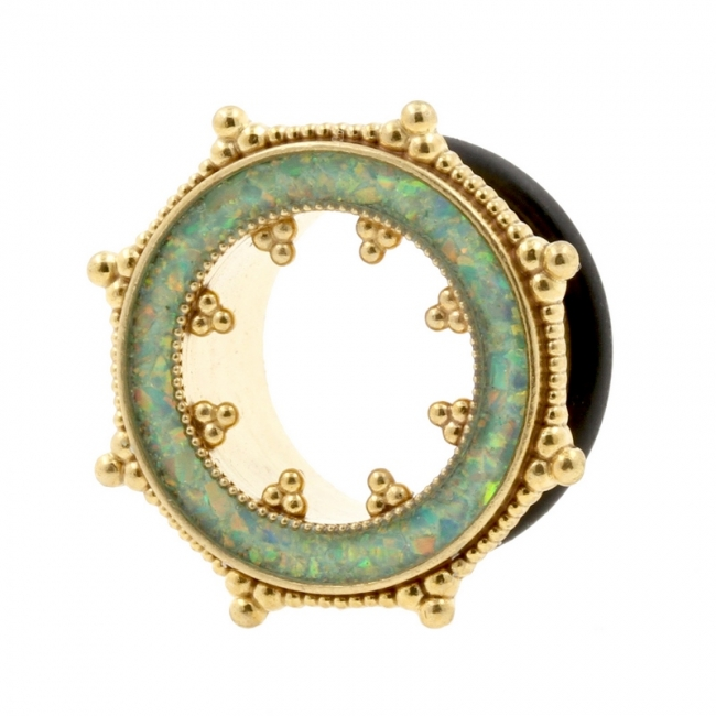 Brass Tunnel with Crushed Opal Inlay