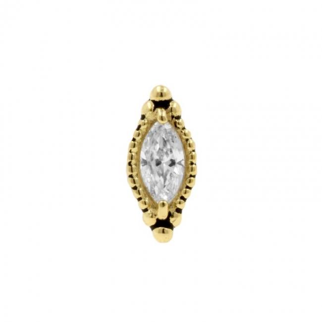 Gold Swarovski Zirconia Vintage Marquise