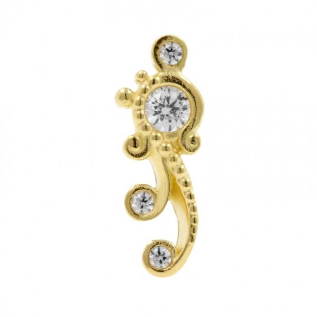 Gold Swarovski Zirconia Ornament - Left
