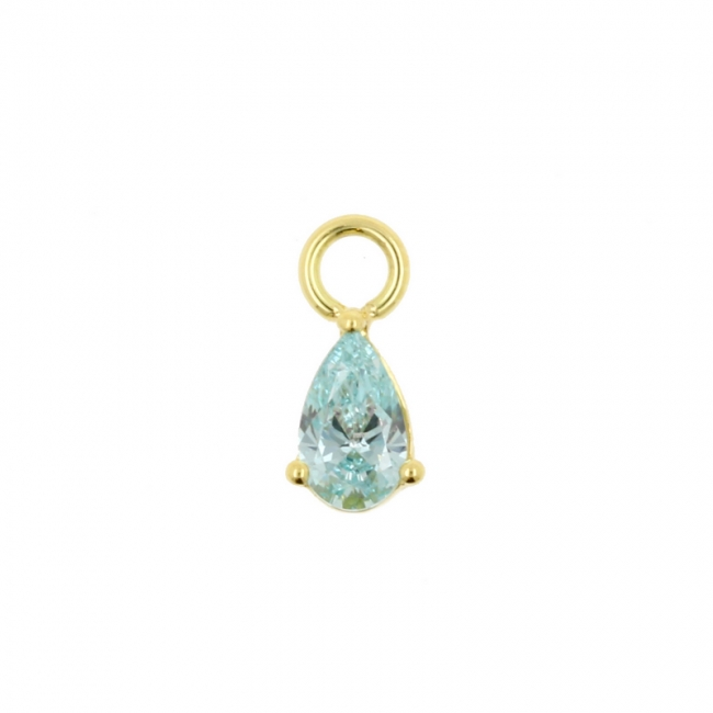 Gold Click Ring Charm - Zirconia Droplet