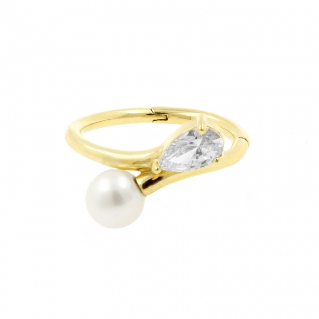 Gold Conch Clicker - Zirconia And Pearl