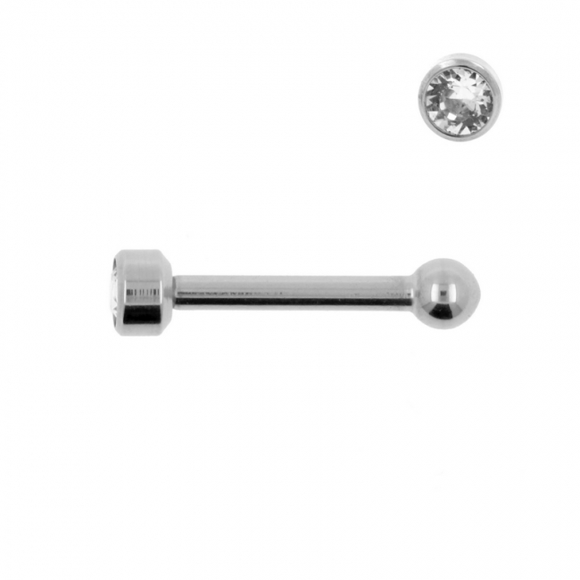 Titanium Mini Barbell With 3mm Jewelled Disc