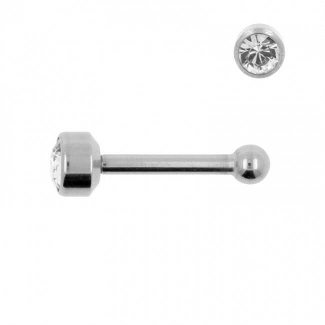 Titanium Mini Barbell With 4mm Jewelled Disc