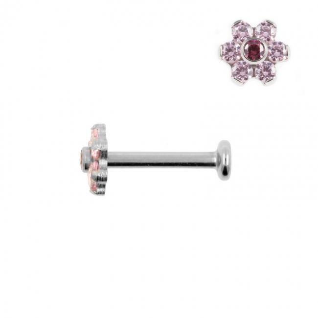 Titanium Labret With Zirconia Flower