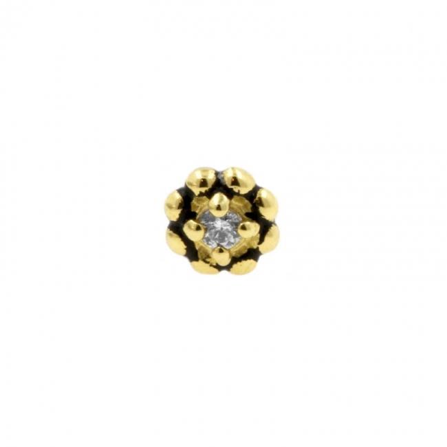 Gold Swarovski Zirconia Flower - Threadless