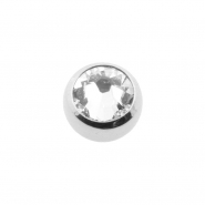 Mini threaded ball with extra large crystal