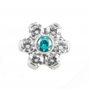 Titanium Zirconia Flower With Swarovski Gems