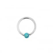 White Gold Fixed Opal Ball Closure Ring