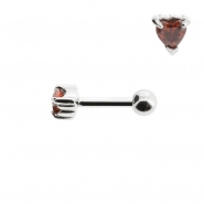 Mini Helix barbell with zirconia heart