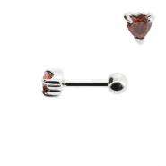 Mini Helix barbell with zirconia heart