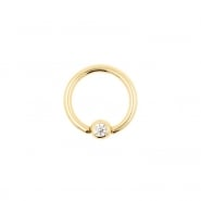 Gold Mini Ball Closure Ring with Zirconia