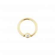 Gold Mini Ball Closure Ring with Zirconia