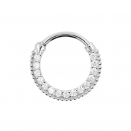 White Gold Dotted Septum Clicker with Zirconia