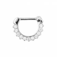 White Gold Septum Clicker with Zirconia