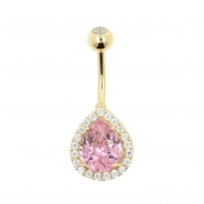 Gold Belly Ring with Zirconia Teardrop