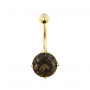 Gold Jewelled Smoky Quartz Belly Ring