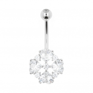White Gold Belly Ring Jewelled Hearts