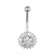 White Gold Belly Ring - Sunflower