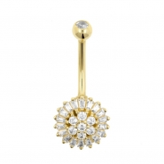Gold Belly Ring - Sunflower