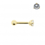 Gold Tragus Barbell - 3mm Zirconia