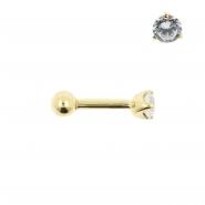 Gold Tragus Barbell - 3mm Zirconia