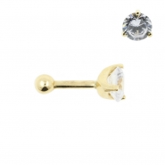 Gold Tragus Barbell - 5mm Zirconia