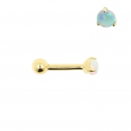 Gold Tragus Barbell - 3mm Opal