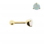 Gold Tragus Barbell - 4mm Opal