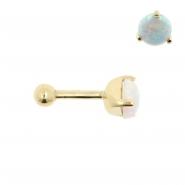 Gold Tragus Barbell - 5mm Opal