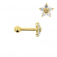 Gold Tragus Barbell With Flower