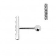 White Gold Tragus Barbell With Zirconia