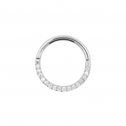 White Gold Click Ring - Zirconia Front
