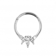 White Gold Click Ring with Three Marquise Zirconias