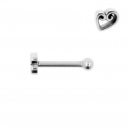 Internally Threaded Tragus Barbell - Heart