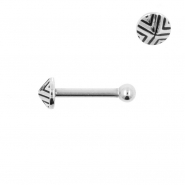 Internally Threaded Tragus Barbell - Triangle