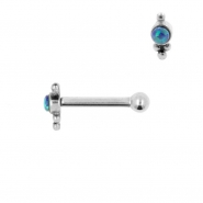 Internally Threaded Tragus Barbell - Opal Droplet