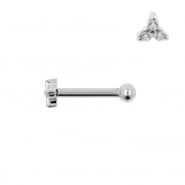 Internally Threaded Tragus Barbell - Zirconia Trinity