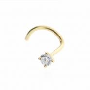 18 Karat Gold nosestud with diamond
