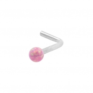 White Gold Nose Stud with Opal Ball