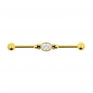 Jewelled Industrial Barbell - Oval Jewel