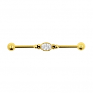 Jewelled Industrial Barbell - Oval Jewel